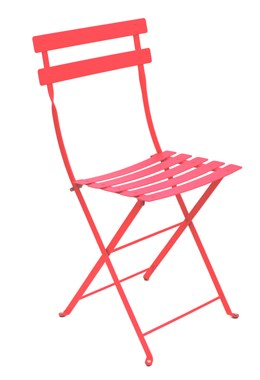 Pair of all metal fushia pink bistro chairs
