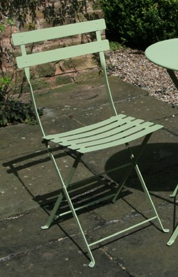 Pair of metal, willow-green, bistro chairs