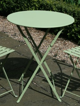 Willow-green metal, bistro table