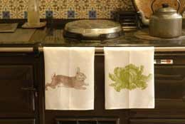Hand printed large tea towel - cabbage