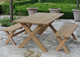 Spanish oak refectory table and two benches