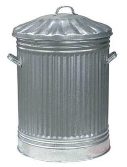 Galvanised dustbin with metal lid