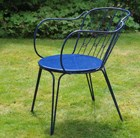 Versailles steel arm chair - royal blue