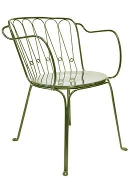 Versailles steel arm chair - lichen green