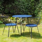 Versailles steel dining table with two chairs - Royal blue