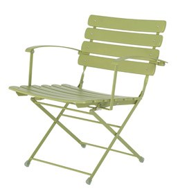 Folding low metal chair