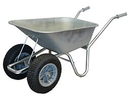 Galvanised carrier duo wheel wheelbarrow