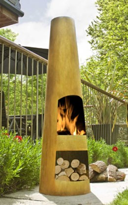 Contemporary steel chiminea circo oxidised