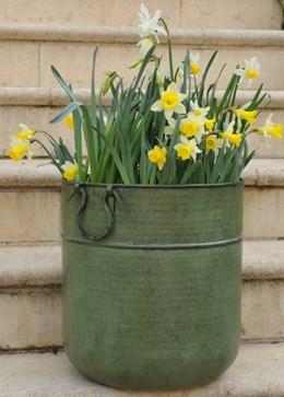 Verdigris tall metal planter