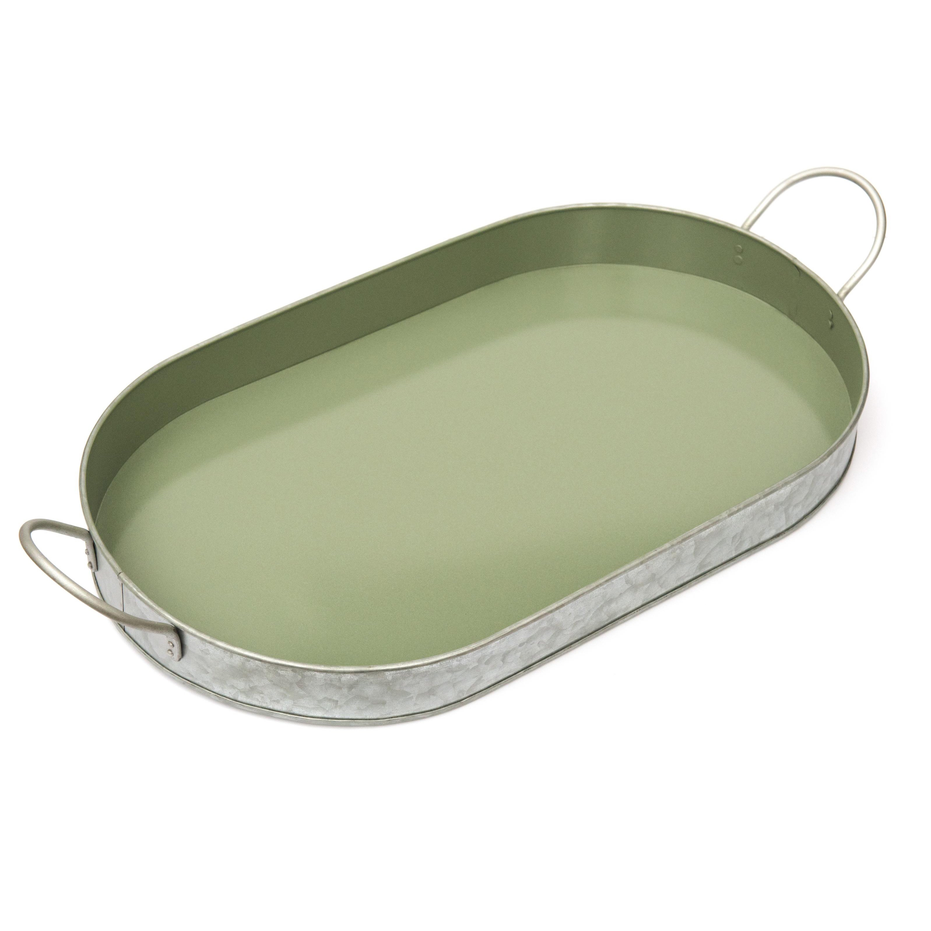Galvanised oval serving tray
