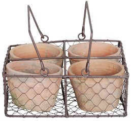 Aged terracotta pot and wire basket set