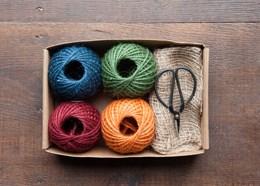Multi-coloured twine gift box