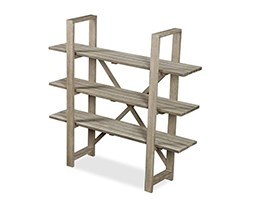 Weathered wood adjustable shelving - low