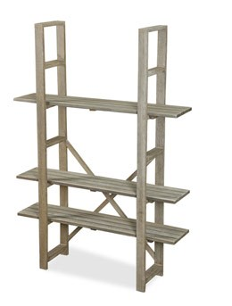Weathered wood adjustable shelving - tall