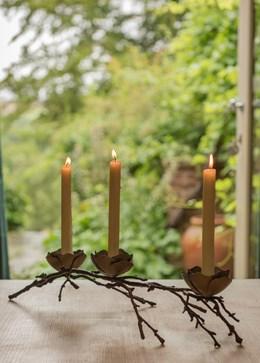 Magnolia twig taper candle holder